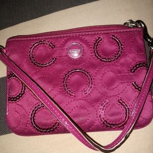 Magenta coach coin purse